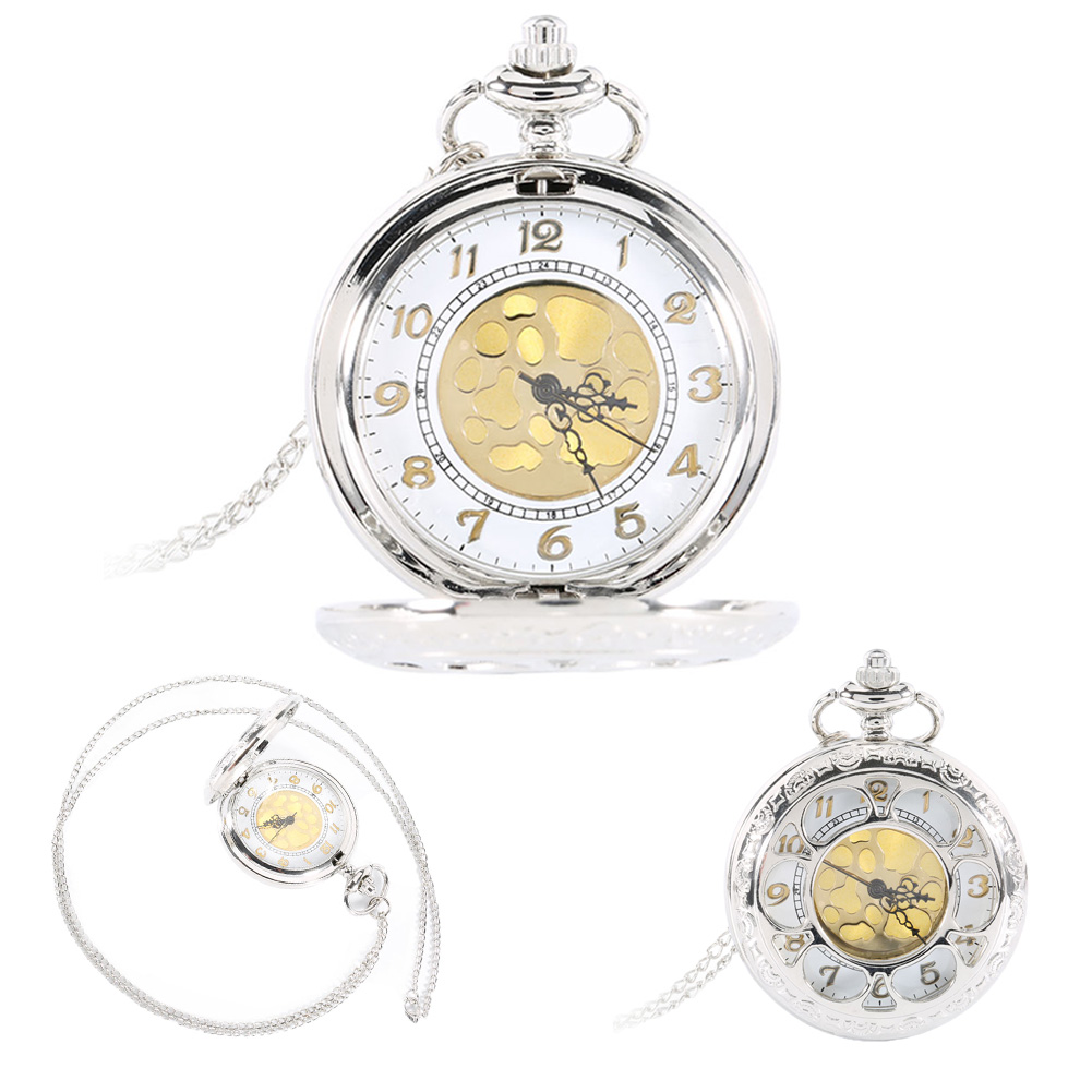 Vintage Silver Face Hollow Flower Quartz Gold Dial Pocket Watch Necklace Pendant with Chain Birthday Gifts LXH(China (Mainland))