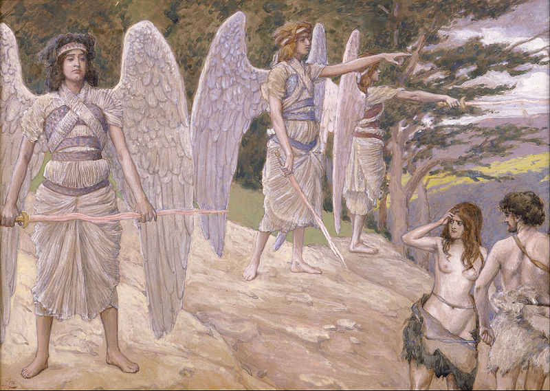 Canvas Art Prints Stretched Framed Giclee Famous Artist Oil Painting James Jacques Joseph Tissot Adam Eve Driven From Paradise(China (Mainland))