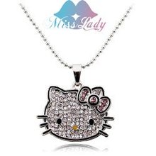 2013 18K Gold Plated Korea Crystal Cute hello kitty Pendants Necklaces Fashion Jewelry for women 2684
