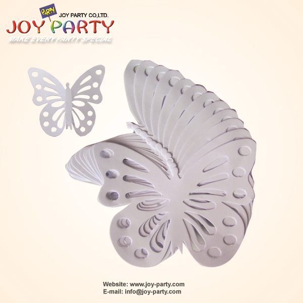 Free shipping 12pcs/lot 10*9cm white ECO Paper Butterfly with polka dot stickers party home wedding Paper Lantern decoration(China (Mainland))