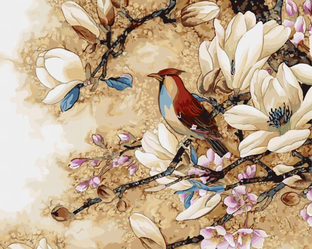 Oil Painting Frameless Picture Painting By Numbers Flower And Bird DIY Digital Canvas Oil Painting Home Decor Living Room G447(China (Mainland))