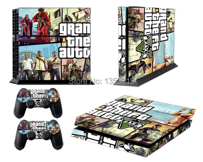 cool protective gta v skin sticker for ps4 playstation 4 sticker skin console 2 controllers 5. Black Bedroom Furniture Sets. Home Design Ideas