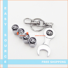 car styling ANTITHEFT LOCK Wrench Wheel Airtight Tyre Tire Valve Stem Cap Caps fits for TOYOTA  4pcs caps sticker car syling(China (Mainland))