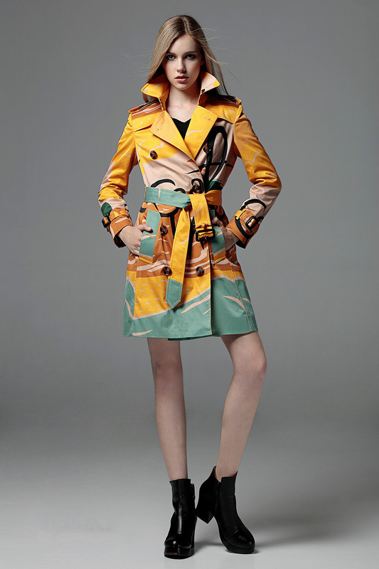 Highquality Luxury Brand British Style trench coat women long slim double breasted Rich print Colored Trench Coats Overcoat - Happy beautiful day store