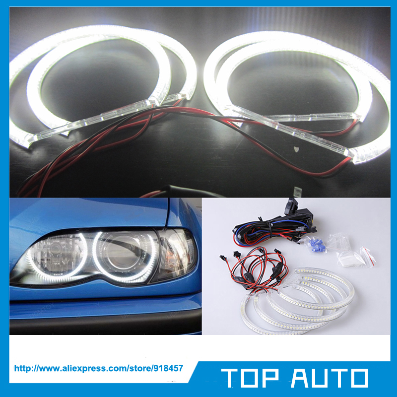Free Shipping 1SET SMD LED SMD Angel Eyes for BMW E46 projector/E36/E38/E39 White with Remote Harness(China (Mainland))