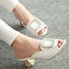 fashion open toe sandals Roman woman rhinestone square heel wedding shoes women's slippers Drop Shipping female summer new