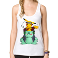 2016 Newest women Pokemon Go Tank tops Go Poke Rangers Printed vest Novelty Comics Pikachu Cool