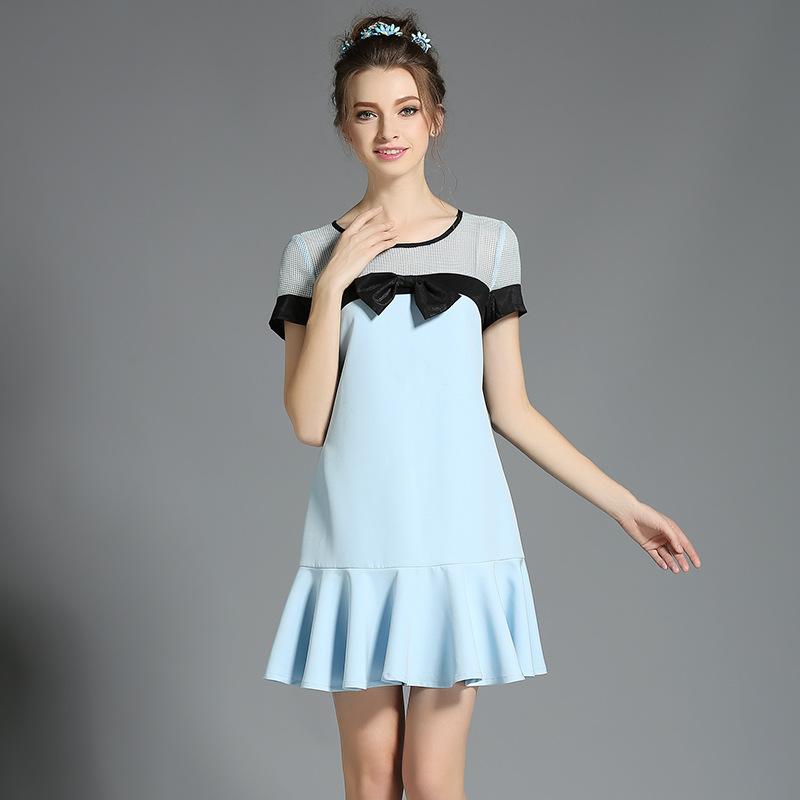 Women's Plus Size Ruffle Trim Summer Dress With Bow Blue l,xl,2xl,3xl,4xl,5xl(China (Mainland))