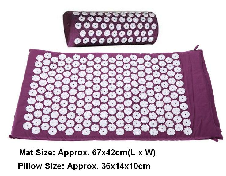 Massager (appro.67*42cm)Massage cushion Acupressure Mat Relieve Stress Pain Acupuncture Spike Yoga Mat with Pillow Drop shipping(China (Mainland))