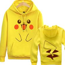 Free shipping Lovely Pikachu Hooded Sweatshirt Pokemon Go HQ Cotton Hoodies Lover Cute Coat Mario Link Pika Cosplay 2015 New