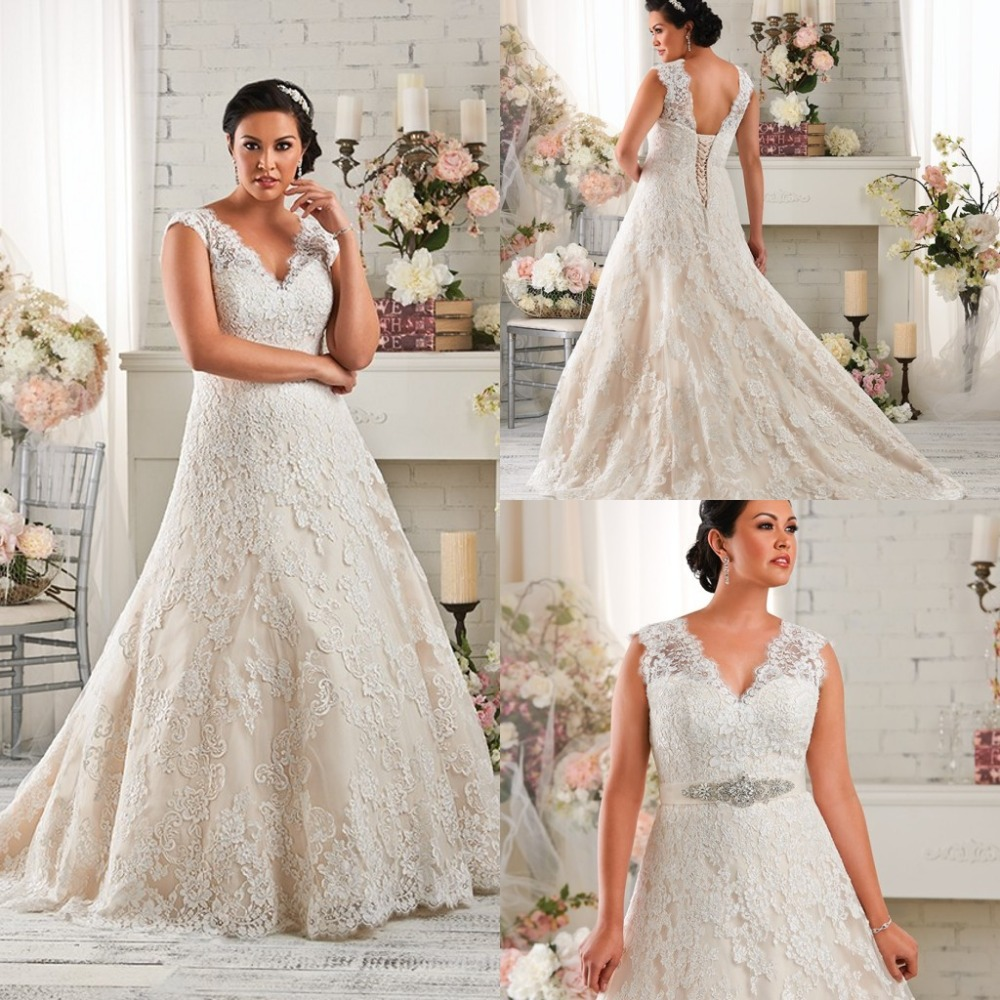 Plus size wedding dress 2015 lace beaded waist v neck a for Plus size beaded wedding dresses