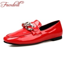 Buy 2016 brand new spring summer fashion women patent leather flats shoes black red flat heel square toe slip casual dress shoes for $30.35 in AliExpress store