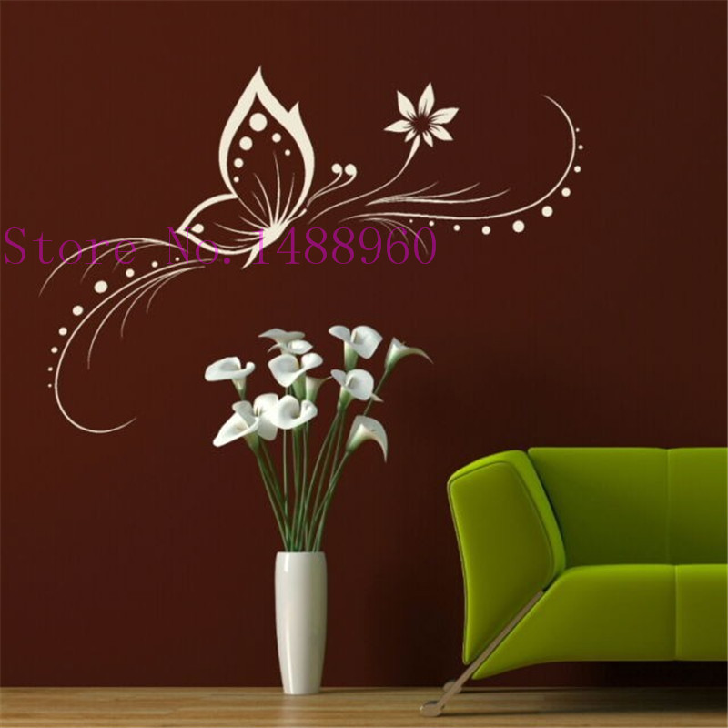 A2 Beautiful Butterflies Flower Wall stickers Home Decor Vinyl wall decals art home decoration(China (Mainland))