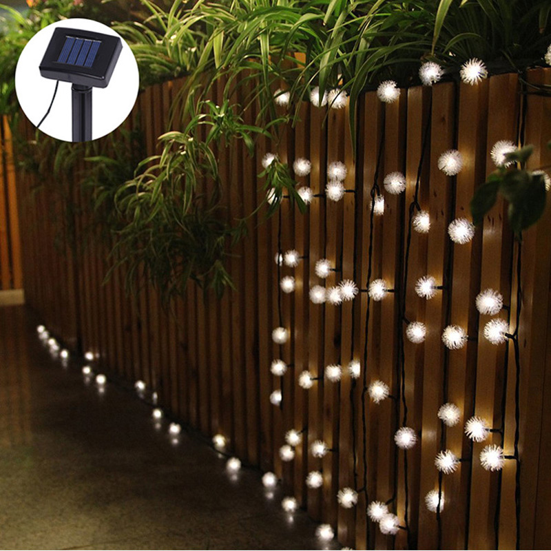 Solar Led String Garden Lights : Luminaria 4.8m 20 LED String Lights Fuzzy Ball Led Solar Lamp Outdoor Led Solar Panel Garden ...