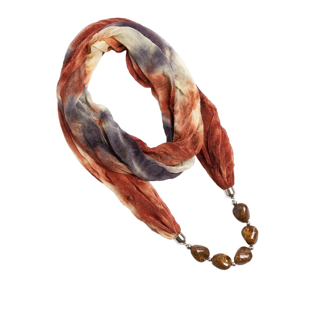 Solid Color and Multicolor Polyester Winter warmth With 5 Pure Color Dark Grain Beads Women Pendant Scarf Necklace (SC150164)(China (Mainland))