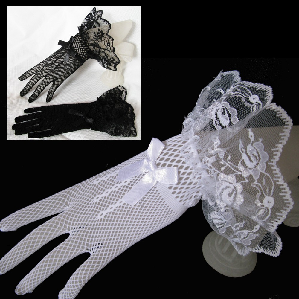 Ivory Black Hot Sale Lace Fishnet Wedding Bridal Gloves Lace Gloves Fingered Gloves For Party Wedding