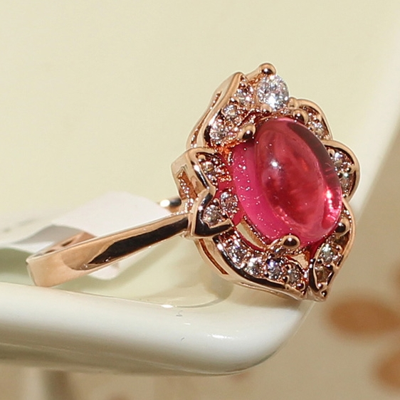 Unique Design Women Big Flower Rings Fashion Vintage Rose Pink Gorgeous Inlaid Imitation Micro