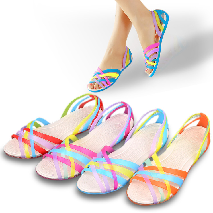 2014 New Hole Shoes Women S Jelly Sandals Shoes Colorful Open Toe Sandals Female Summer Sandals