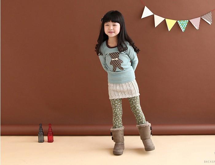 Place of production children's clothing autumn bear bow female child basic shirt long-sleeve T-shirt qe10733(China (Mainland))