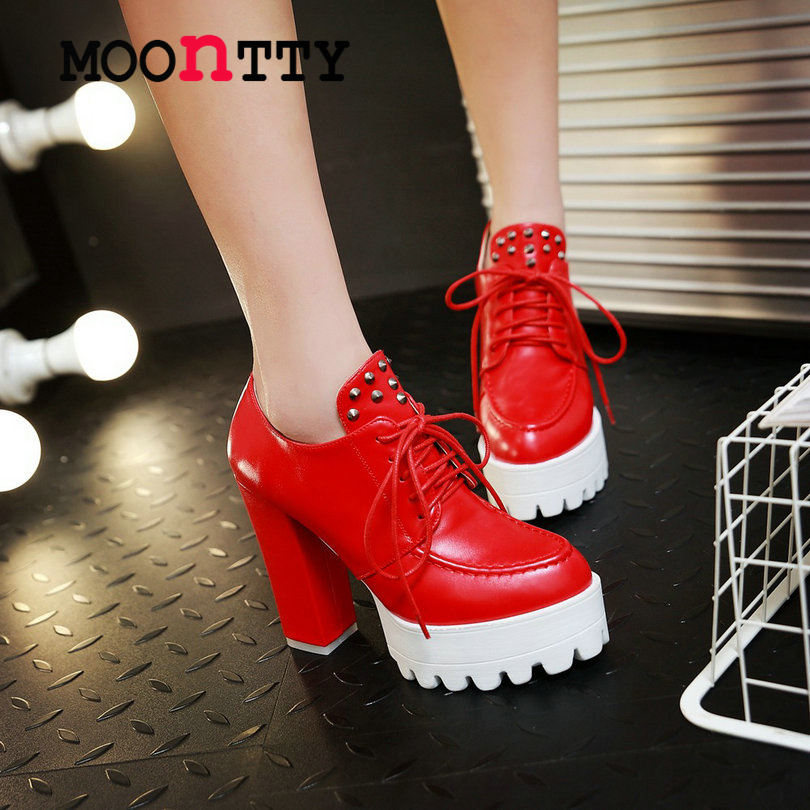 MOONTTY Hot Sale Rivets Lace Up Platform Round Toe Women Pump Square High Heels Autumn/Spring Miss Party Shoes Size 34-42 Red
