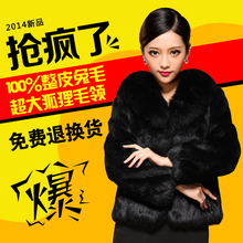 fox fur collar rabbit fur coat 2016 new women full leather short outerwear coats plus size winter clthing(China (Mainland))