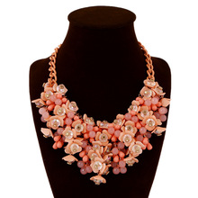 ZA Statement Necklace Colorful Beads Crystal Pendant Necklaces Pendants Chain Collar Ethnic Charm Jewelry Wholesale C468