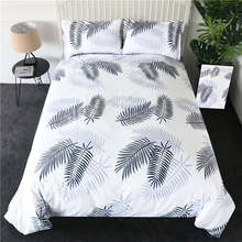 BeddingOutlet Pineapple Bedding Set Striped Grey Duvet Cover Reversible Bedspreads Queen Tropical Bed Linen 2/3/4pcs Wholesale(China)