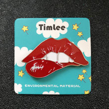 Timlee X220 Sexy Red Lip Pins Lip Desain Unicorn Logam Bros Pins Grosir(China)
