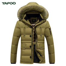 TAPOO 2016 Top Quality Warm Men's Bio Down Jacket Waterproof Casual Outerwear Thick Medium Long Coat Men Parka ML0012(China (Mainland))