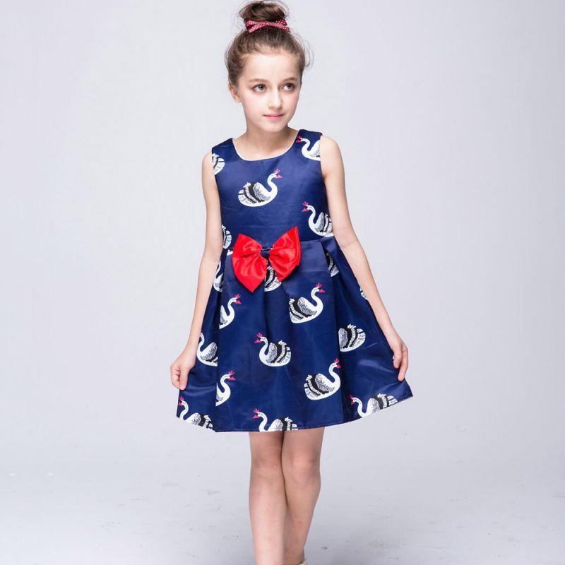 Baby Girls Swan Printed Dress Kids Sleeveless Formal Birthday Weeding Party dresses 58(China (Mainland))