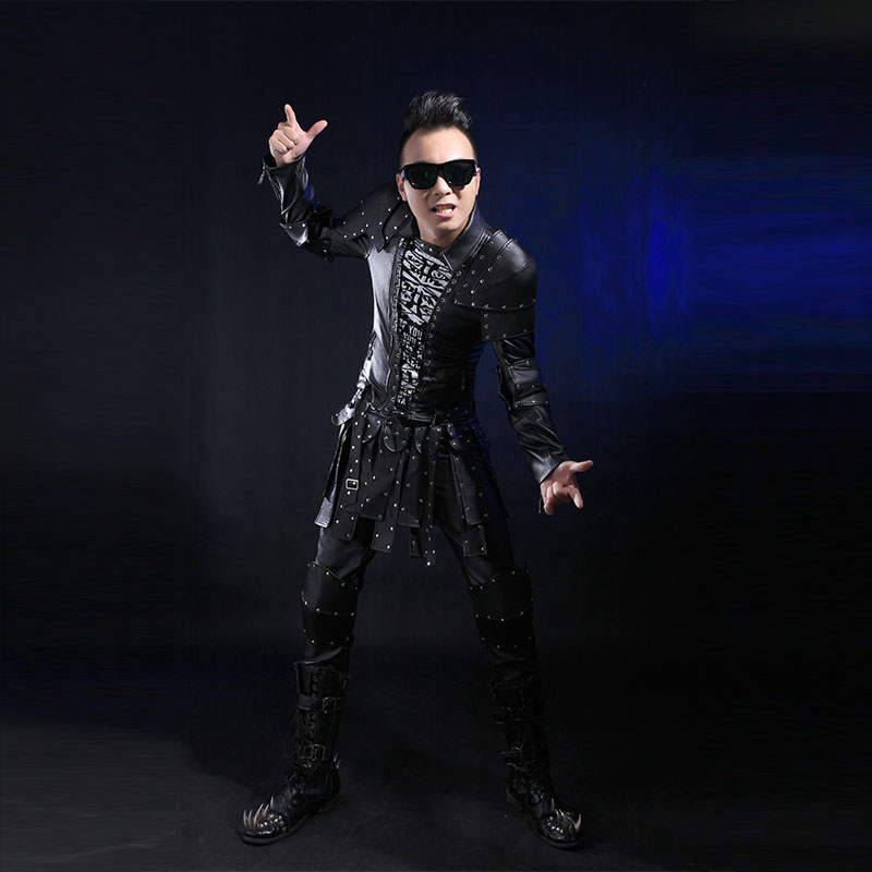 Fashion Punk Style Black Pu Leather Rivets Jacket Pants Clothing Set Male Signer Dance Wear Stage Performance Dj Costume Suits(China (Mainland))