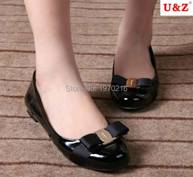 Spring Summer 2017 Lovely patent leather satin bow flats shoes & Block heels Black/Navy blue,Golden buckle ballet flat Loafers(China (Mainland))