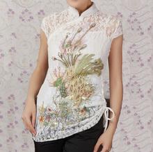 Мода белый китайских женщин кружево вышивка рубашка топ-платье феникс размер L XL XXL XXXL бесплатная доставка A0048