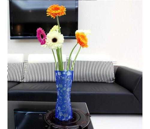 Free Shipping 15pcs/lot DIY PVC Reusable Folded Plastic Vase Small Size(China (Mainland))