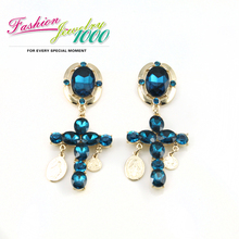Free Shipping  New Arrival Luxury Big Cross Blue Crystal Drop Earrings Jewelry For Women(China (Mainland))