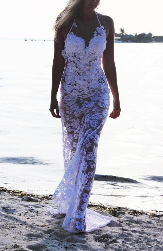 2015 Summer Style Beach Wedding Dresses Sheath Halter Off