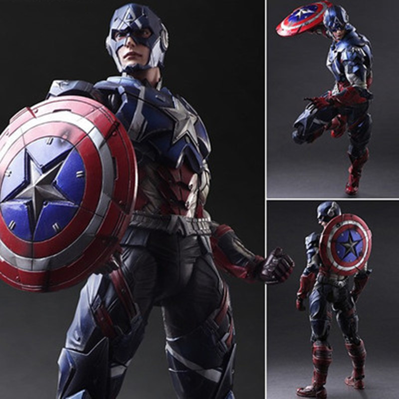 28cm Captain America Action Figure Toys Collection Model Toy Anime Captain America Play Arts Toy Children Gifts With Retail Box(China (Mainland))