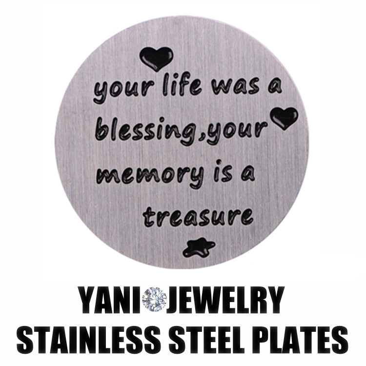 10pcs/lot Free shipping Charms Window Plate Stainless Steel Your Life Was Blessing Plates for 30mm Glass Locket(China (Mainland))