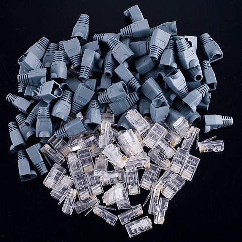 RJ45 Connectors Modular Plugs Boots Caps For Solid Or Stranded Round Cable 50* RJ45 Module Plugs 50* RJ45 Boots / Caps(China (Mainland))