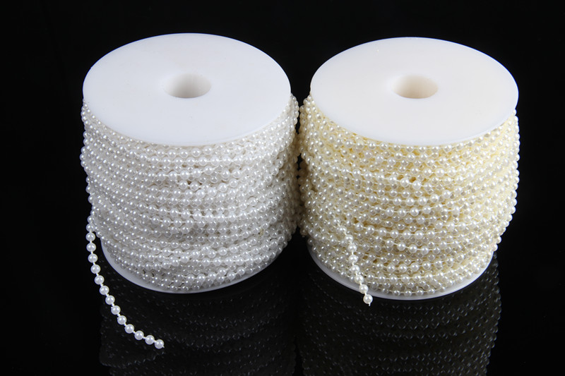 1M 4mm Diameter Pearl String Spools Wedding Party Decoration DIY Brides Hand Bouquet Pearl Beads Chain(China (Mainland))