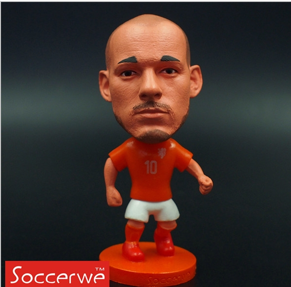 Kodoto National 6.5*3.5 cm size resin Soccer Doll Holland 10 Sneijder mini Figure Office Doll in Orange kit(China (Mainland))