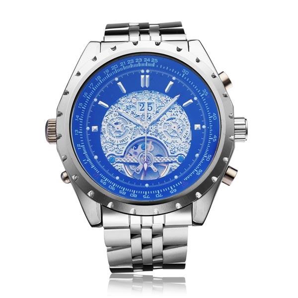 Jaragar бренд класса люкс автоматическая механическая серебро нержавеющая SteelMen наручные часы календарь мужские часы 2016 New бесплатная доставка
