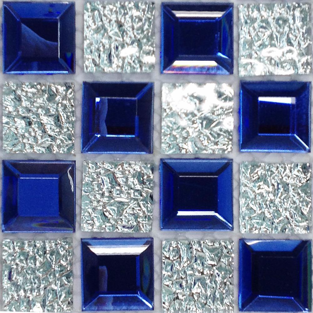 TST Sea Blue Glass Tile SAMPLE Mosaic beveled diamond silver wall backsplash mosaics kitchen bathroom wall deco TILE SAMPLE(China (Mainland))