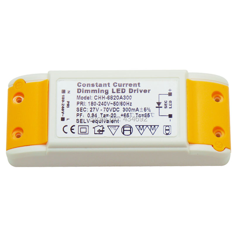 10PCS (9-20) x 1W Constant Current Dimming Dimmable LED Driver DC27V-70V 300mA SELV-equivalent For High Power LED Light(China (Mainland))