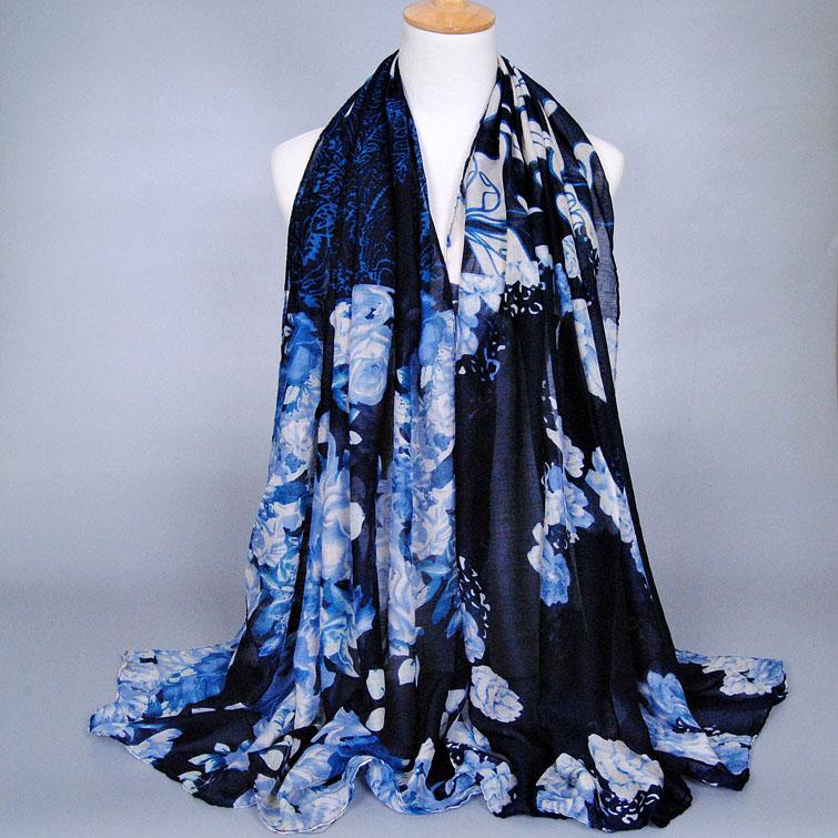 Popular female printe floral shawls cotton voile headband muffler hijab cotton spring muslim wrap long scarves/scarf 10pcs/lot