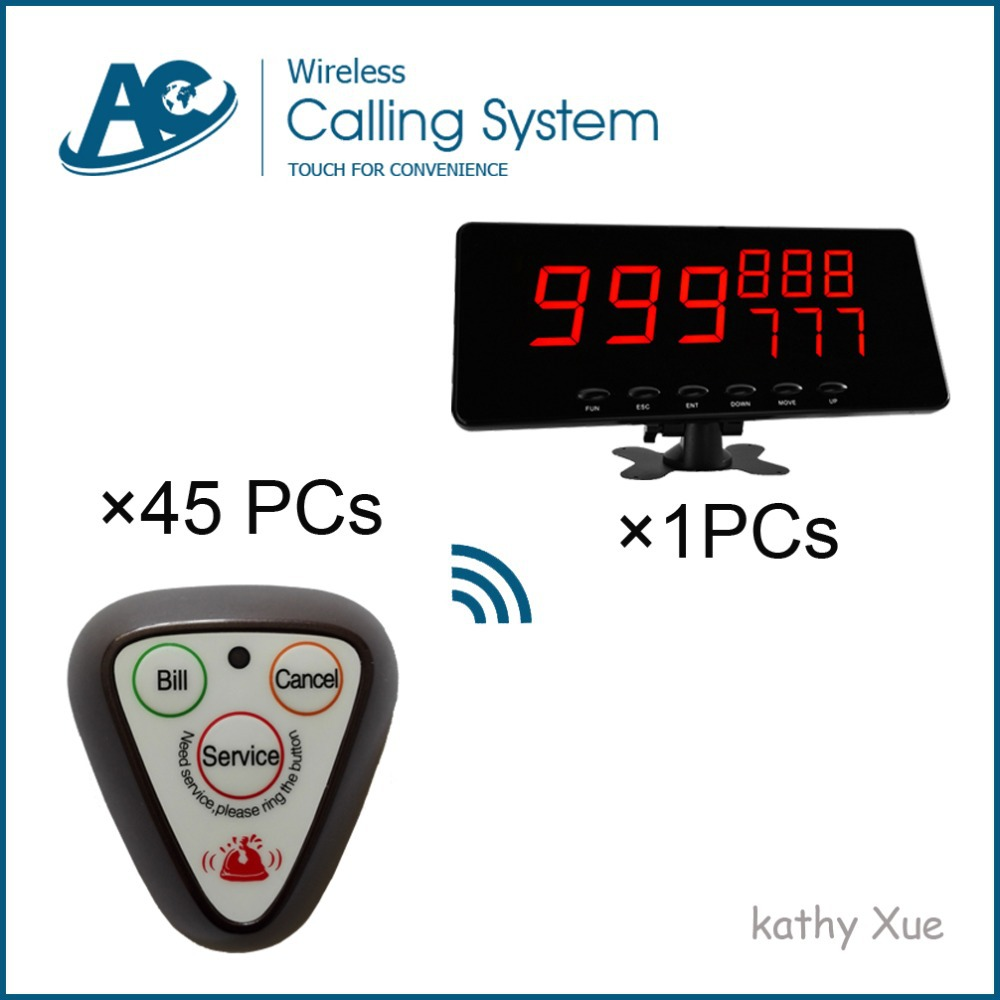 One Display Panel with 45 pcs Chocolate 3-Key Buttons Service Calling Wireless Call Ordering System(China (Mainland))