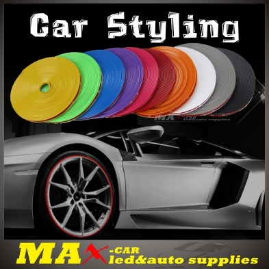 Free Shipping New Color Wheel Rim Protector Glue car Stickers For Motorcycle 10 Color 8 Meters Auto Accessories Car Styling(China (Mainland))