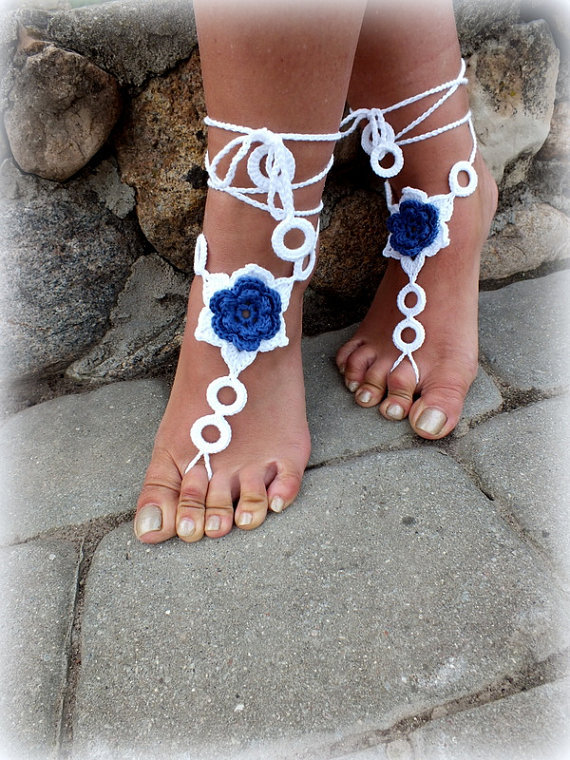 Crochet Barefoot Sandals, Nude shoes, Foot Jewelry, Beach Wedding, Sexy Anklet , Bellydance,Beach Footwear(China (Mainland))