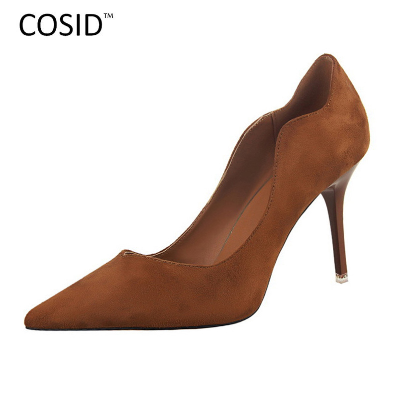 Hollow Out Women Shoes Sexy Pointed Toe High Heels Brand Design Suede Leather Women Pumps  Vintage Zapatos Mujer Shoes BSN-580<br><br>Aliexpress