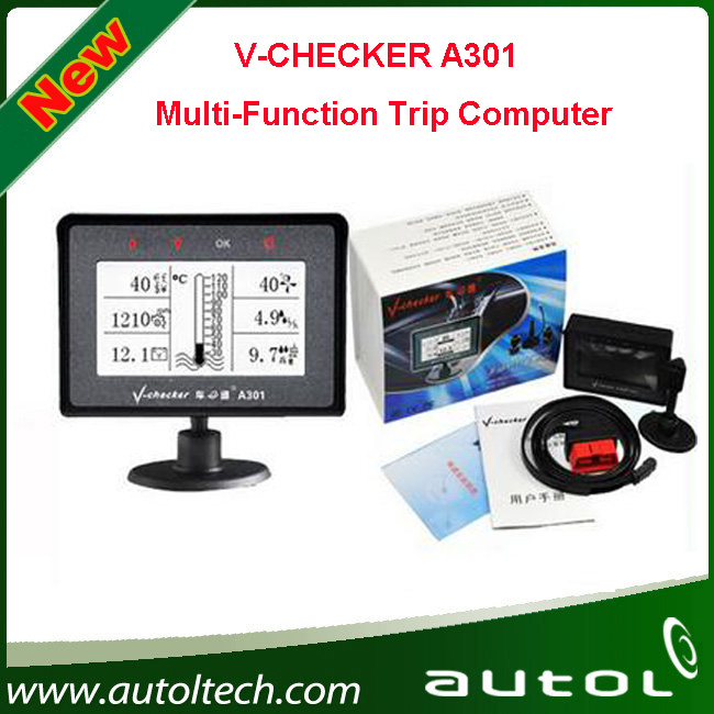 2016 Newest V checker Fast Shipping with High Quality! Car Trip Computer OBD Multi-Function Trip Computer V Checker A301(China (Mainland))